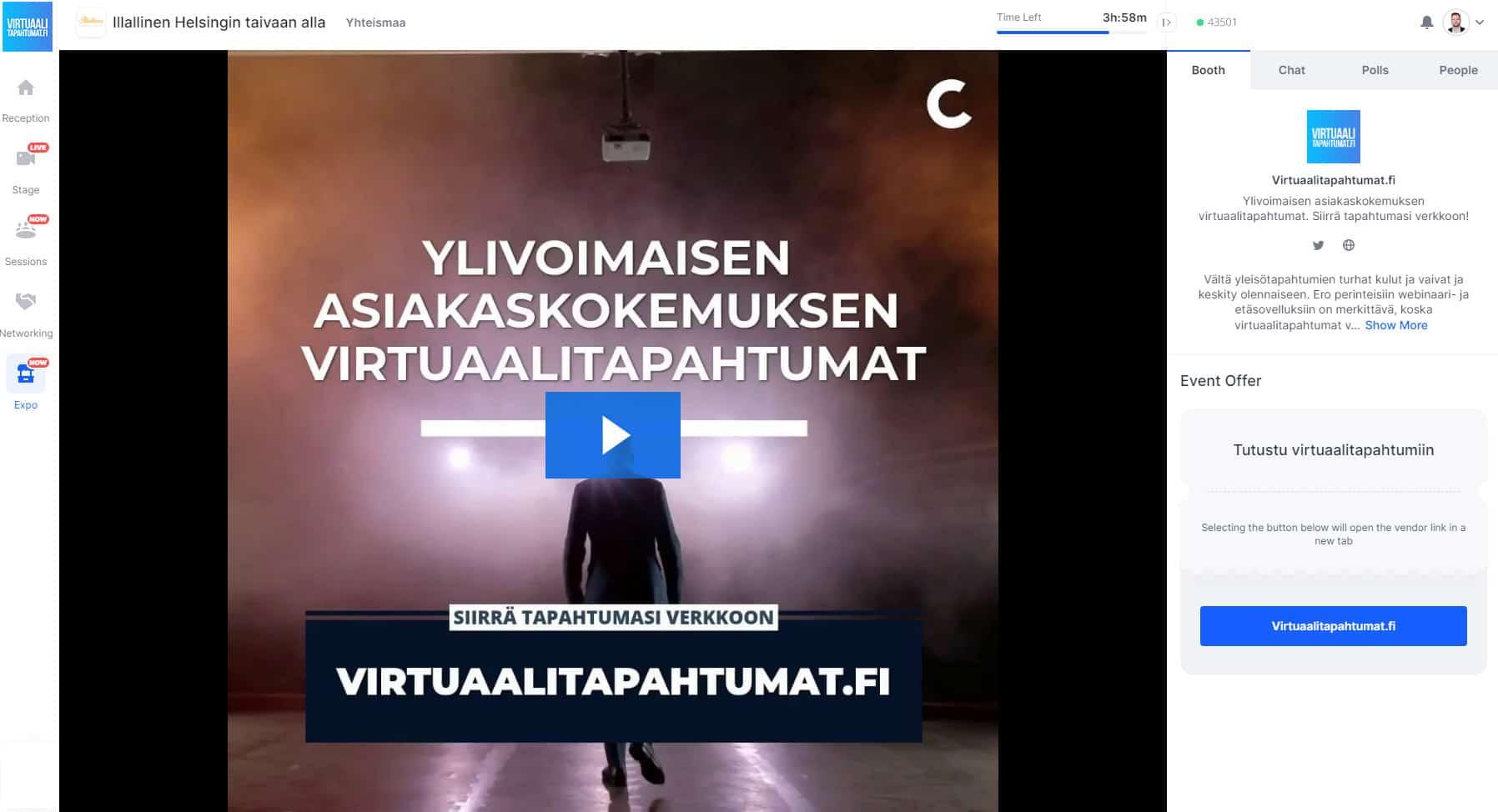 Virtuaalitapahtuma messuosasto