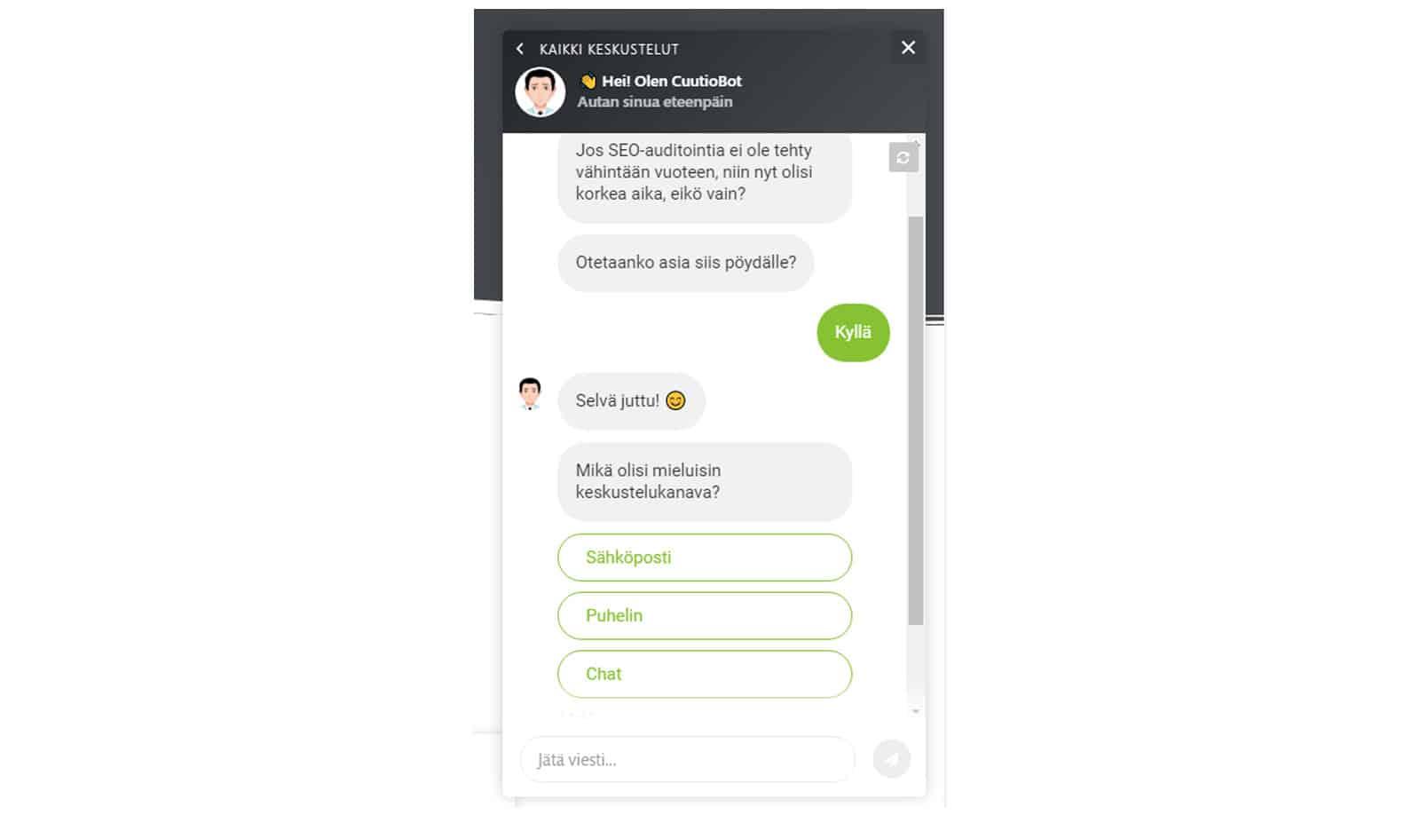 Chatbotissa voi valita keskustelukanavan